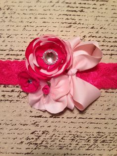 Hot pink/light pink fancy ribbon and lace by DonnaBellaBows, $17.95