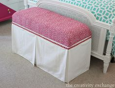 Tutorial for turning a basic storage bench into a chic end of the bed storage piece.  The Creativity Exchange.