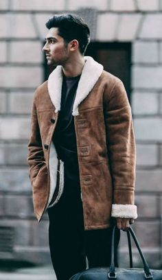 Black T-shirt Layered over Shearling Overcoat