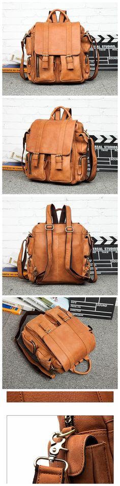 Vintage Leather Backpack College Backpack School Backpack