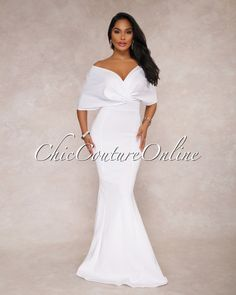 Chic Couture Online - Flore White Off The Shoulder Mermaid Maxi Dress, (http://www.chiccoutureonline.com/flore-white-off-the-shoulder-mermaid-maxi-dress/)