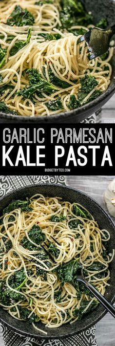 When you're in a hurry, this Garlic Parmesan Kale Pasta is a filling and flavorful meal. Few ingredients, BIG flavor. BudgetBytes.com
