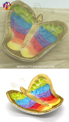 Do you love diy clay crafts? Learn how to make a clay footprint ring dish from air dry clay. This rainbow footprint butterfly bowl makes a cute handmade keepsake to treasure. This butterfly craft is a great diy Mother's day gift idea. #mothersdaycraftsforkids #spring #babyactivities #keepsakes #keepsakesforbaby #butterflycraft #claycrafts #clayprojects #footprintcrafts #footprintart #butterflycraftsforkids #butterflycraftsfortoddlers #claydiy