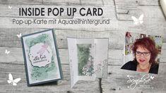 Inside Pop Up Card/Pop-Up-Karte mit Aquarellhintergrund | Produktpakete Wiesenruhe u. Libellengarten - YouTube Pop Up Card, Card Making Tutorials, Cardmaking, Youtube, Polaroid Film, Cards, Watercolor Background, Maps