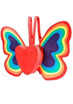 Current Mood Happy Butterfly Backpack makes love, love, love radiate off ya, bb! Flutter on by in this mega cute backpack, featurin' a red heart shaped base constructed from supa smooth vegan leather, top zip closures, exxxtra bright 'N fun rainbow butterfly wings sproutin' from yr back, and adjustable shoulder straps.