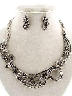 24.99$ Chunky Antique Silver Tone Zipper Design Swirl Statement Necklace Earrings Set