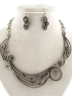 24.99$ Chunky Antique Silver Tone Zipper Design Swirl Statement Necklace Earrings Set