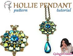 HOLLIE Pendant pattern with Honeycomb and Dargon scale beads, DIY tutorial