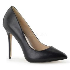 Pleaser Shoes Amuse-20 Black Faux Matt Leather Classic black court shoes in man-made leather with matte finish, pointed toe, front flat sole and sexy extra-thin 5 inch (12.5 cm) stiletto high heels with matching leather overlay. Chic and versatile http://www.MightGet.com/january-2017-12/pleaser-shoes-amuse-20-black-faux-matt-leather.asp