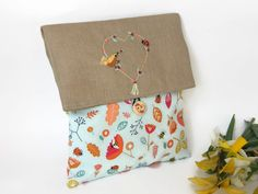 Clutch Bag with a Flap  Foldover Cosmetic Bag  Make Up Clutch Bag  Bridesmaid Gift Bag  Floral Fabric Clutch Bag  Cosmetic Make Up Bag (16.90 EUR) by cosyribbon