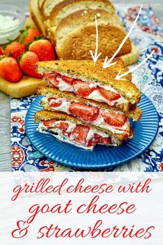 Gourmet Grilled Cheese With Goat Cheese and Strawberries (Air Fryer Sandwich) | MomsWhoSave.com #airfryer #airfryerrecipes #strawberries #goatcheese #goatcheeserecipes #sandwichrecipes #sandwiches Gourmet Sandwiches, Sandwich Recipes, Warm Kitchen, Goat Cheese Recipes, Good Food, Yummy Food, Air Frying, Air Fryer Recipes, Strawberries