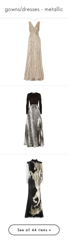 """""""gowns/dresses - metallic"""" by helena-handbasket ❤ liked on Polyvore featuring dresses, gowns, long dress, vestidos, evening gown, long pink dress, oscar de la renta gowns, pink chiffon dress, long chiffon dress and long fitted dresses"""