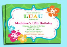 Luau Invitation Printable  Personalized for Your by ThatPartyChick, $15.00