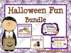 Halloween Fun Activity Bundle from overthemoonbow on TeachersNotebook.com -  (56 pages)  - This fun, Halloween themed activity pack will help your students practice reading, writing, vocabulary & fine motor skills!