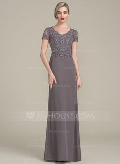 [US$ 157.49] A-Line/Princess V-neck Floor-Length Chiffon Lace Mother of the Bride Dress With Beading Sequins