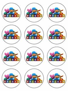 "Pocoyo Edible Image Cupcake Topper Personalized 2"" Rounds 