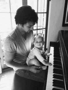 Teddy's first piano lesson.