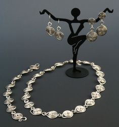 Etruscan Necklace, Bracelet, and earrings by Teddi Hosman Designs jewelry - Google Search.  Sterling Silver www.TeddiHosmanDesigns.Etsy.com Washer Necklace, Jewelry Design, Sterling Silver, Chain, Bracelets, Earrings, Wire Wrap, Google Search, Inspiration
