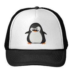 Cute Black  White Penguin And  Funny Mustache Trucker Hats