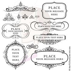 13 pieces of Calligraphy Vintage Flourish Frames Digital Clip Art and a variety of useful design elements great as designs for DIY invitation or as scrapbooking embellishment. Perfect for making ... Personal wedding invitation or for friends Invitation cards, Birthday cards, Thank You cards, all kinds of cards! Scrapbooking paper, gift wrapping, etc. Banners, tags, cupcake toppers, jewelry. _________________________________________ For this INSTANT DOWNLOAD product, you will receive the…
