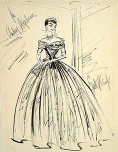 Beautiful - Edith Head costume sketch for Audrey Hepburn in 'Roman Holiday', 1953.