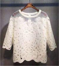 2015 nova Summer Fashion mulheres do tamanho Chiffon Organza rendas blusa mulheres Tops(China (Mainland))