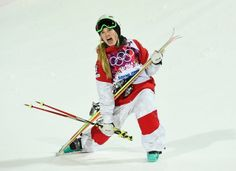 Canada's Justine Dufour-Lapointe reacts in the finish area after winning the Women's Moguls in the 2014 Sochi Olympics. Her sister Chloe took Silver & American Hannah Kearney, Bronze.