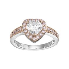 Lily & Lace Pink & White Cubic Zirconia Two Tone Heart Halo Ring, Women's, Size: 9