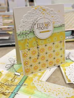 """""""Just @ Note"""" Card, designed by Michelle Wooderson / Mish Mash. Scrapbooking, Scrapbook Paper Crafts, Scrapbook Cards, Paper Crafting, Pretty Cards, Cute Cards, Diy Cards, Card Making Inspiration, Making Ideas"""