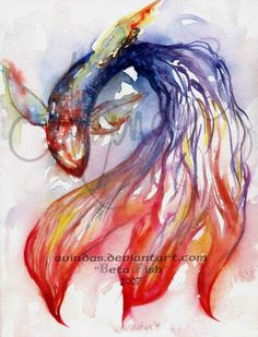 Beautiful watercolor painting of a beta fish I found while searching images of actual beta fish.