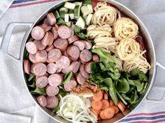 Skalldyrkabaret One Pot Pasta, Cobb Salad, Side Dishes, Sausage, Food And Drink, Meat, Dinner, Spinach, Beef