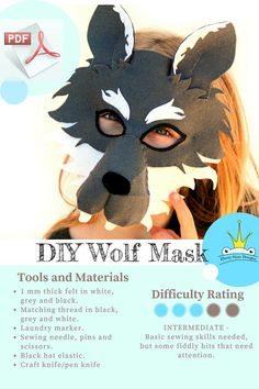 Get set for a howling good time! Download this fun and furry 3D wolf mask pattern to make your very own wolf mask. Just grab a few pieces of felt, some hat elastic and follow the simple step by step instructions! Your completed mask is sure to bring howls of joy and set tails and tongues wagging long after the party, Halloween or dress up day is over! Your pattern will make sewing this perfectly playful wolf mask easy.