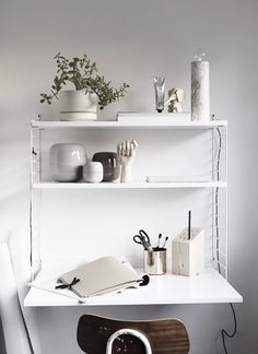 White String system wall-mounted desk and shelving, plant, copper stationery cup, vintage chair Small Workspace, Desks For Small Spaces, Desk Space, Workspace Inspiration, Interior Inspiration, Desk Inspo, Positive Inspiration, Style Inspiration, String Regal