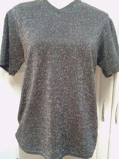 Positano Black Stretch Shiny Shimmer Party Top Medium USA Vintage #Positano #KnitTop #Clubwear