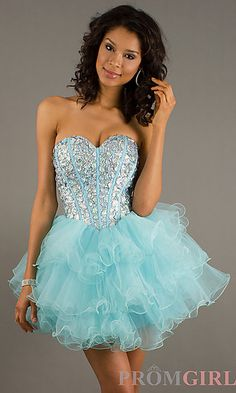 Strapless Beaded Party Dress at PromGirl.com