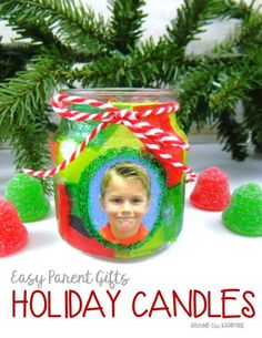 Parent Christmas Gift Ideas – Around the Kampfire Easy parent Christmas gift ideas- holiday candles with students' picture Christmas Presents For Parents, School Christmas Gifts, Preschool Christmas Crafts, Preschool Gifts, Christmas Crafts For Gifts, Toddler Christmas, Holiday Gifts, Christmas Ornaments, Holiday Decor