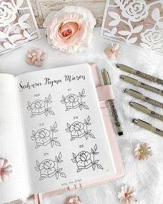 Bullet journal by bella_rica_design. Bullet Journal Notes, Bullet Journal Junkies, Bullet Journal Inspiration, Journal Ideas, Pigma Micron, Korean Stationery, Pen Sets, Planners, Flower Drawings