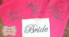 Fast Free Shipping Set of 6 Robes 5 Pink Bridesmaids & 1 White Bridal Embroidered Pink Waffle Kimono Short Robe Bridal Party Gifts