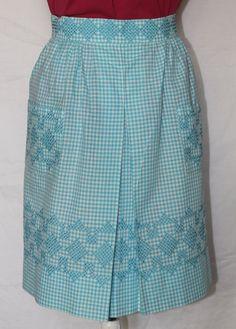 Vintage Aqua Blue Half Apron with Cross by ilovevintagestuff