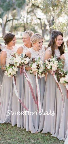 Charming Scoop Neck Sleeveless A-line Lace Chiffon Long Bridesmaid Dresses, SW1161 Affordable Dresses, Cheap Dresses, Dresses For Sale, Bridesmaid Dress Styles, Wedding Dresses, Lace Chiffon, Pretty Dresses, Scoop Neck, Tulle