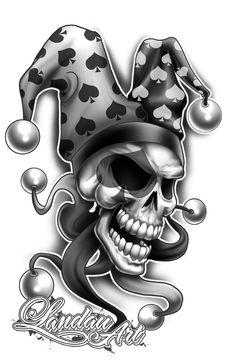 Jester+Tattoo+Flash+by+Landauart.deviantart.com+on+@deviantART