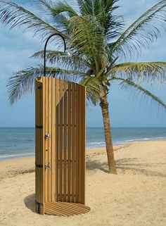 Inspiring Unique Outdoor Shower Beach with Wooden Wall Overlooking Sea View near Coconut Tree Ideas - Cool Designs Of Exterior Look Of Outdoor Shower Rooms