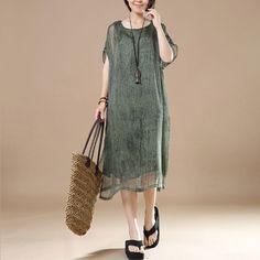 Cotton Irregular Loose Women Summer Green Dress