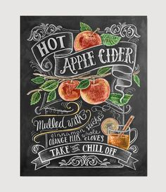 Items similar to Fall Art - Fall Decor - Apple Decor - Apple Art - Fall Apple Cider Print - Autumn Decor - Thanksgiving Decor- Chalkboard Art - Hand Drawn on Etsy Chalkboard Lettering, Chalkboard Designs, Diy Chalkboard, Chalk Typography, Chalkboard Writing, Blackboard Wall, Typography Letters, Autumn Tumblr, Cocktail Recipes