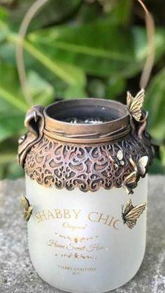 Diy Bottle, Bottle Art, Bottle Crafts, Mason Jar Lanterns, Mason Jars, Bottles And Jars, Glass Bottles, Mod Podge Crafts, Sewing Room Decor