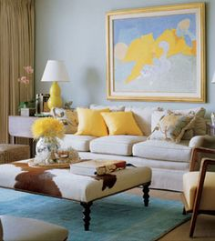 Elle decor-and love the touch of yellow!! Great painting!!