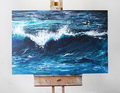 Ocean Art Painting Acrylic Original // Breaker 24 by KatieJobling