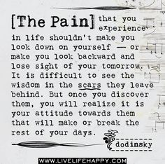 The pain that you experience in life shouldn't make you look down on yourself -- or make you look backward and lose sight of your tomorrow. It is difficult to see the wisdom in the scars they leave behind. But once you discover them, you will realize it is your attitude towards them that will make or break the rest of your days. -Dodinsky