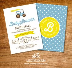 Tractor Baby Shower/Christening Invitations by LedinghamShop