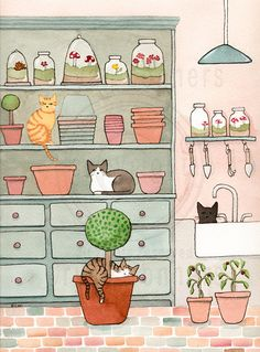 """CAT Art Cats in the Potting Room Original Cat Folk Art """"The Potting Room 3"""" An original illustration and watercolor painting. It's that time of year! Getting our seeds planted, with help from the cats of course. =P Painted on Arches Watercolour, cold pressed, 300g/m2 140lb, 100% pure cotton, acid-free paper. Size 9"""" x 12"""" - sprayed with a matte varnish."""